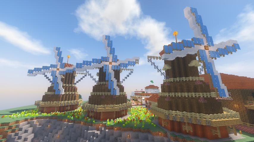 Minecrafterししゃもがマインクラフトでぷっこ村に三つ子の風車を作る16