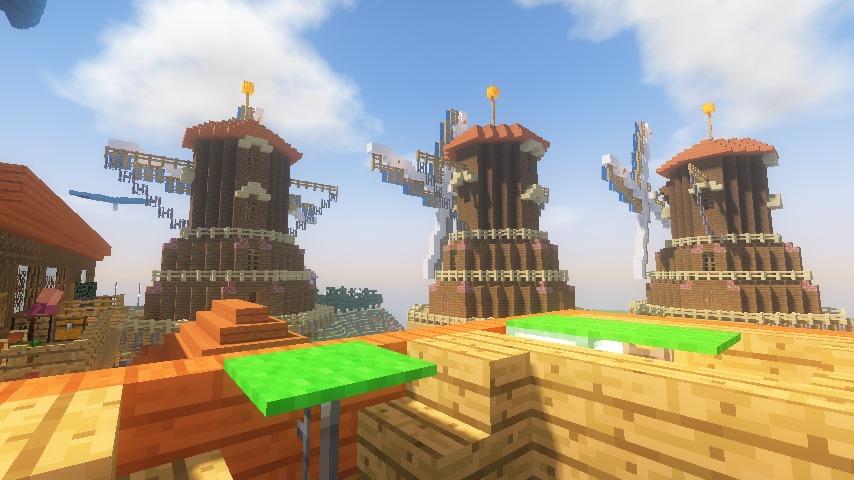 Minecrafterししゃもがマインクラフトでぷっこ村に三つ子の風車を作る18