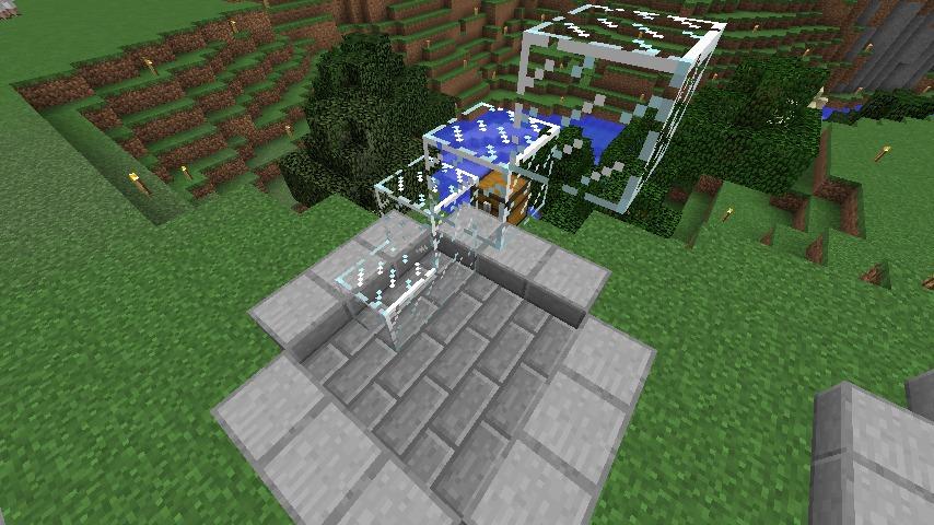 Minecrafterししゃもがマインクラフトでぷっこ村にウネウネした噴水を作る7