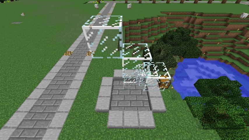 Minecrafterししゃもがマインクラフトでぷっこ村にウネウネした噴水を作る8
