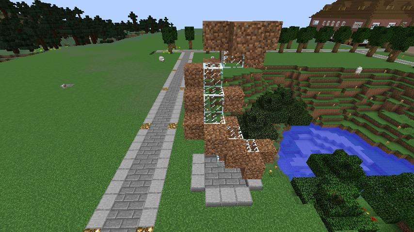 Minecrafterししゃもがマインクラフトでぷっこ村にウネウネした噴水を作る11