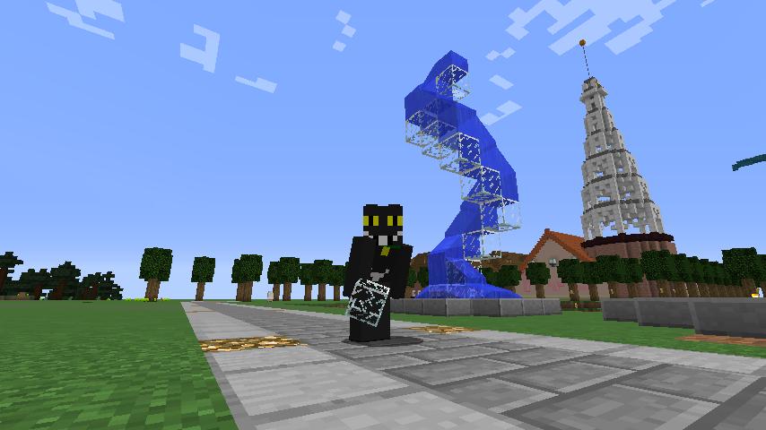 Minecrafterししゃもがマインクラフトでぷっこ村にウネウネした噴水を作る5