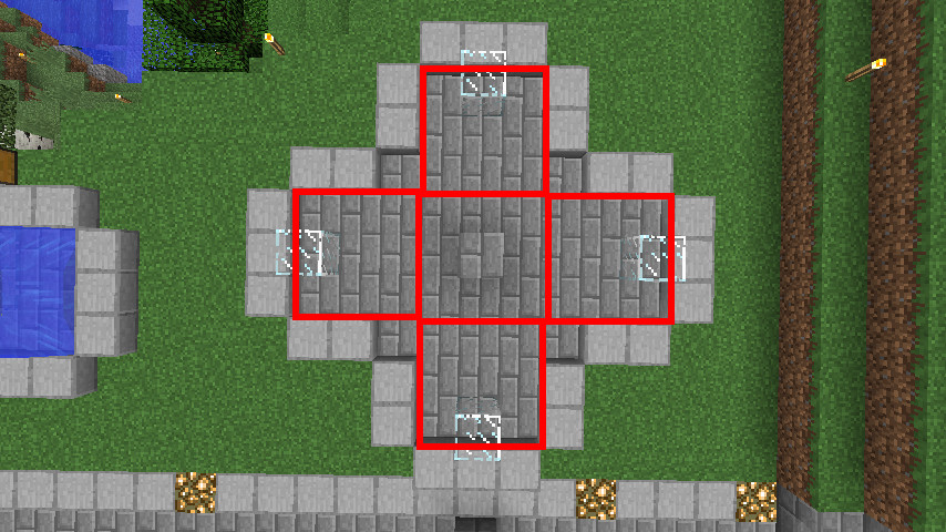 Minecrafterししゃもがマインクラフトでぷっこ村にもっとウネウネした噴水を作って作り方を紹介する4