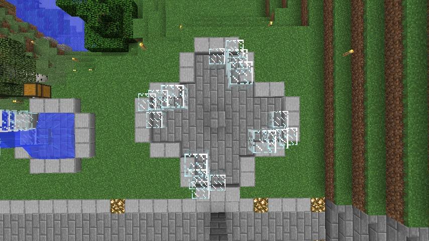 Minecrafterししゃもがマインクラフトでぷっこ村にもっとウネウネした噴水を作って作り方を紹介する7