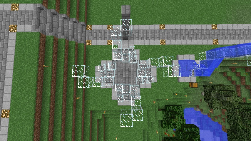 Minecrafterししゃもがマインクラフトでぷっこ村にもっとウネウネした噴水を作って作り方を紹介する9