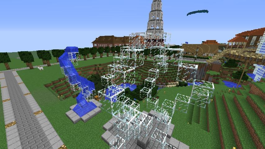 Minecrafterししゃもがマインクラフトでぷっこ村にもっとウネウネした噴水を作って作り方を紹介する11