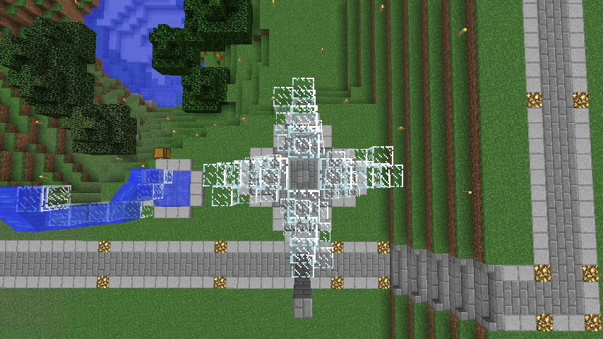 Minecrafterししゃもがマインクラフトでぷっこ村にもっとウネウネした噴水を作って作り方を紹介する10