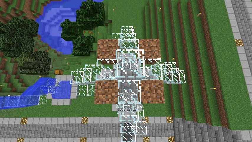 Minecrafterししゃもがマインクラフトでぷっこ村にもっとウネウネした噴水を作って作り方を紹介する12