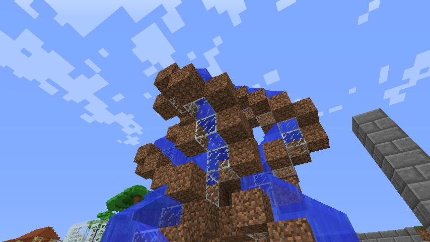 Minecrafterししゃもがマインクラフトでぷっこ村にもっとウネウネした噴水を作って作り方を紹介する14