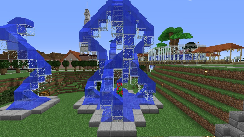 Minecrafterししゃもがマインクラフトでぷっこ村にもっとウネウネした噴水を作って作り方を紹介する15