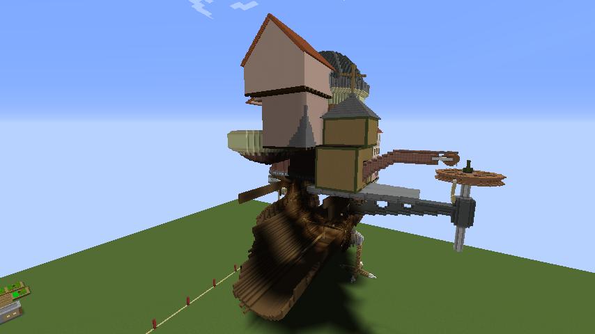 Minecrafterししゃもがマインクラフトでジブリのハウルの動く城を作成する後編2