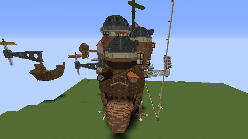 Minecrafterししゃもがマインクラフトでジブリのハウルの動く城を作成する後編4