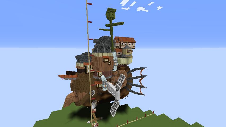 Minecrafterししゃもがマインクラフトでジブリのハウルの動く城を作成する後編5