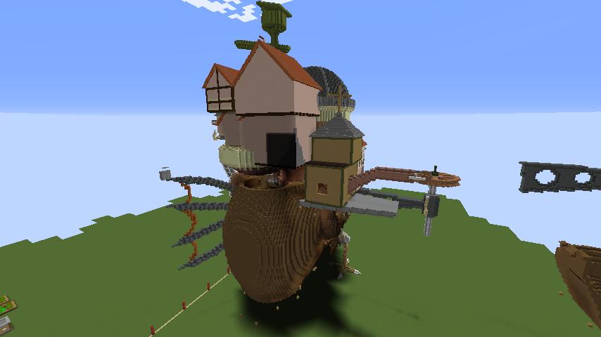 Minecrafterししゃもがマインクラフトでジブリのハウルの動く城を作成する後編7