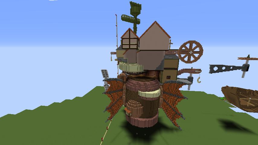 Minecrafterししゃもがマインクラフトでジブリのハウルの動く城を作成する後編8