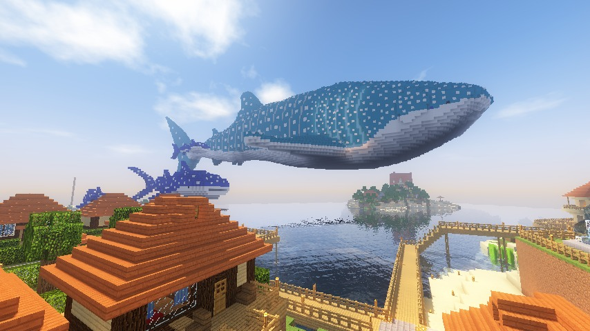 Minecrafterししゃもがマインクラフトでぷっこ村に巨大ジンベエザメを作成する4