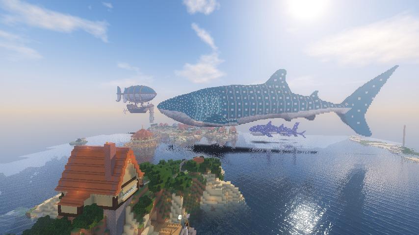 Minecrafterししゃもがマインクラフトでぷっこ村に巨大ジンベエザメを作成する8