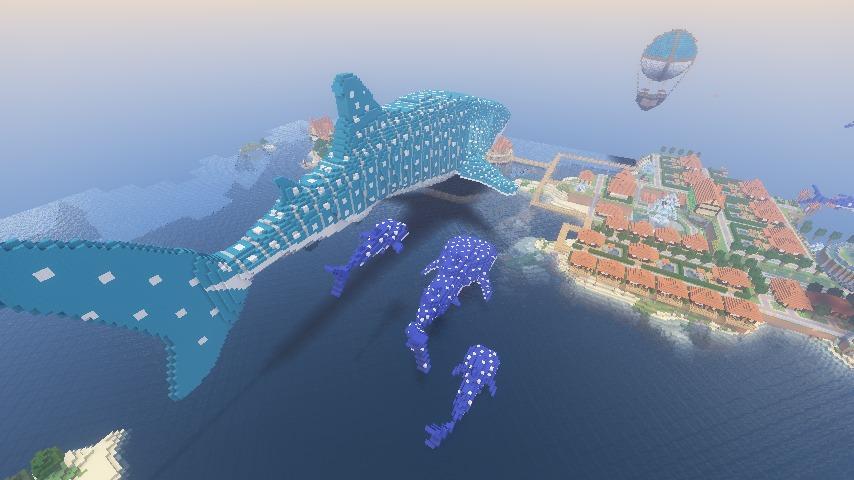 Minecrafterししゃもがマインクラフトでぷっこ村に巨大ジンベエザメを作成する2