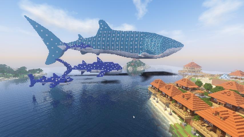 Minecrafterししゃもがマインクラフトでぷっこ村に巨大ジンベエザメを作成する3