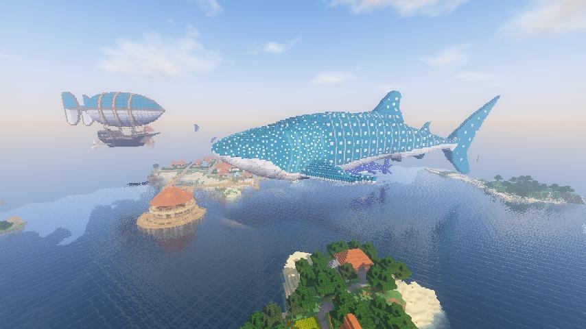 Minecrafterししゃもがマインクラフトでぷっこ村に巨大ジンベエザメを作成する7