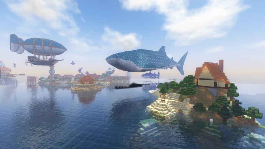 Minecrafterししゃもがマインクラフトでぷっこ村に巨大ジンベエザメを作成する9
