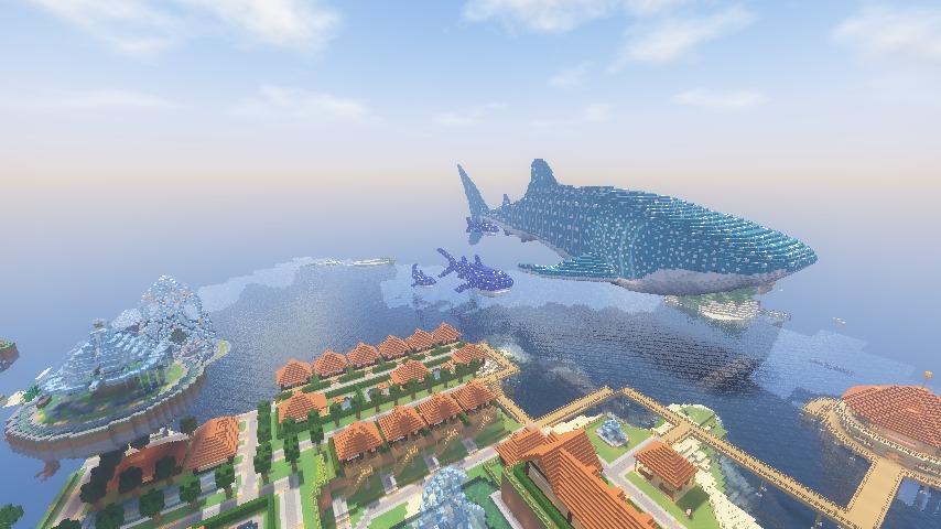 Minecrafterししゃもがマインクラフトでぷっこ村に巨大ジンベエザメを作成する10