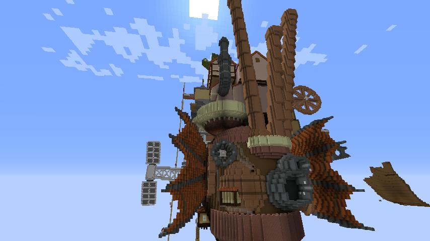 Minecrafterししゃもがマインクラフトでジブリのハウルの動く城を作成する後編9