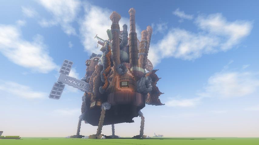 Minecrafterししゃもがマインクラフトでぷっこ村にジブリのハウルの動く城を再現する7