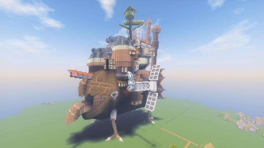 Minecrafterししゃもがマインクラフトでぷっこ村にジブリのハウルの動く城を再現する2