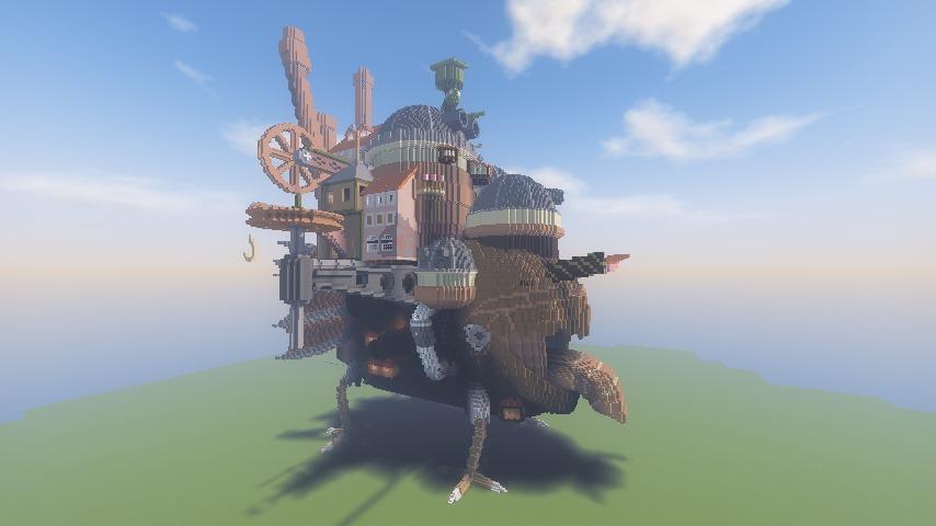 Minecrafterししゃもがマインクラフトでぷっこ村にジブリのハウルの動く城を再現する3