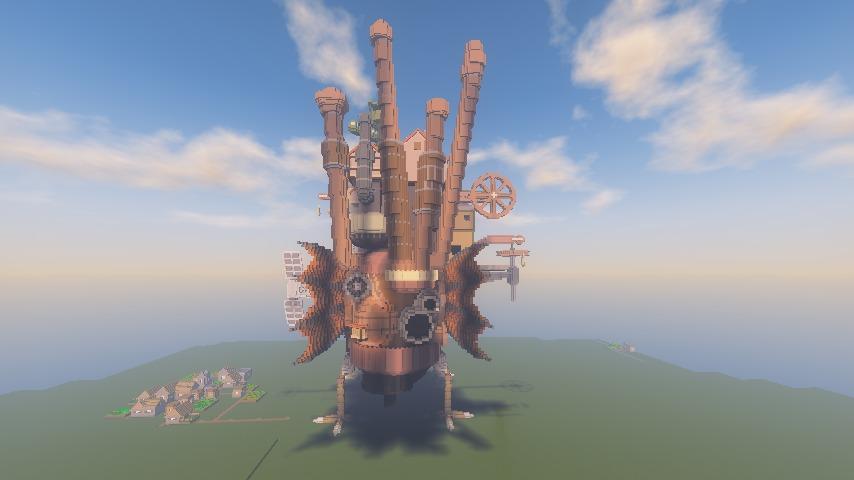 Minecrafterししゃもがマインクラフトでぷっこ村にジブリのハウルの動く城を再現する4