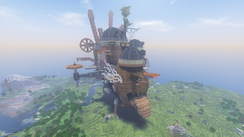 Minecrafterししゃもがマインクラフトでぷっこ村にジブリのハウルの動く城を再現する8