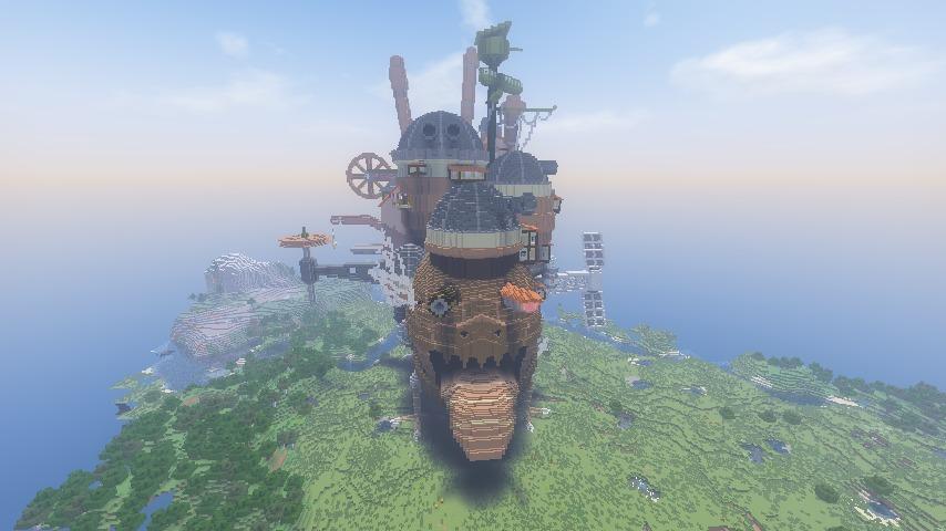 Minecrafterししゃもがマインクラフトでぷっこ村にジブリのハウルの動く城を再現する9