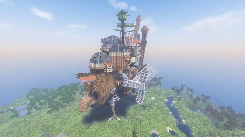 Minecrafterししゃもがマインクラフトでぷっこ村にジブリのハウルの動く城を再現する10