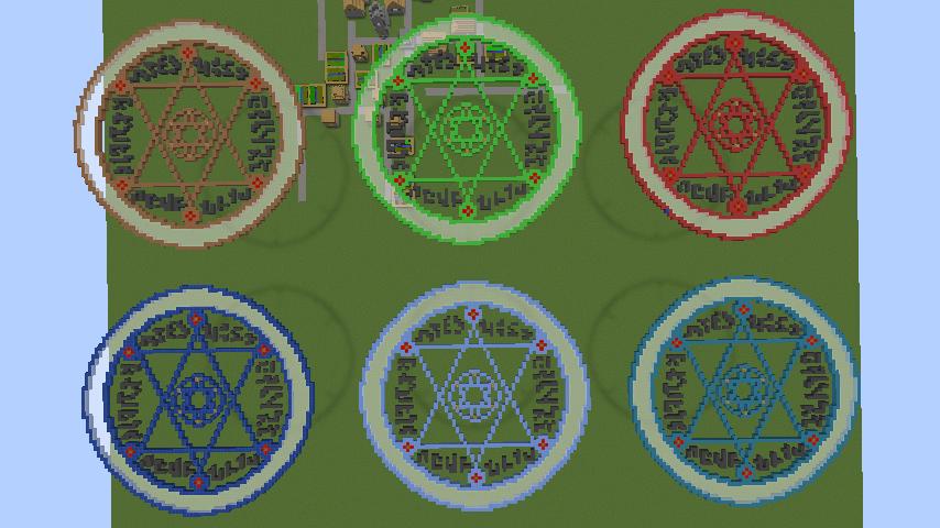 Minecrafterししゃもがマインクラフトでぷっこ村に魔法陣のドット絵を作成する9