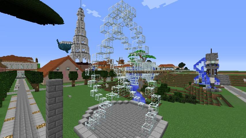 Minecrafterししゃもがマインクラフトで大きめのラセン噴水の作り方を紹介する11
