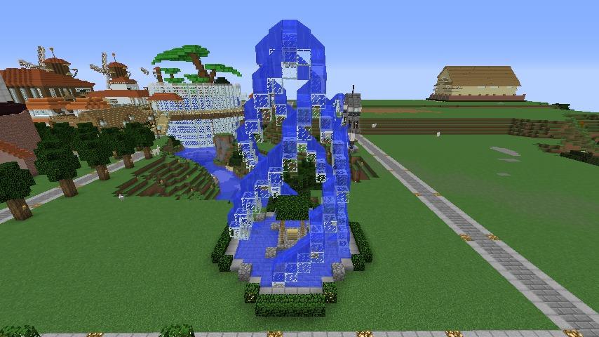 Minecrafterししゃもがマインクラフトで大きめのラセン噴水の作り方を紹介する18