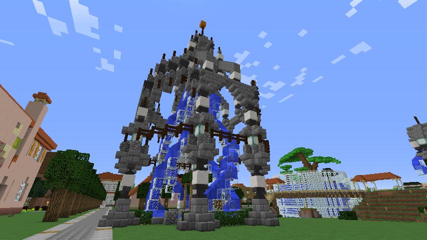 Minecrafterししゃもがマインクラフトで大きめのラセン噴水の作り方を紹介する19