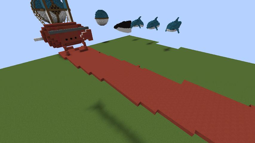 Minecrafterししゃもがマインクラフトでぷっこ村にジブリ作品の紅の豚に出る飛行機サボイアS.21試作戦闘飛行艇を作る2