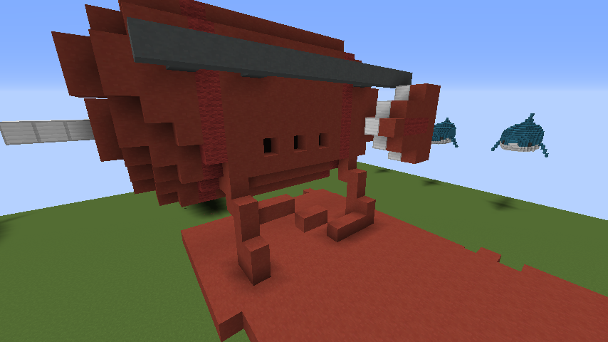 Minecrafterししゃもがマインクラフトでぷっこ村にジブリ作品の紅の豚に出る飛行機サボイアS.21試作戦闘飛行艇を作る1