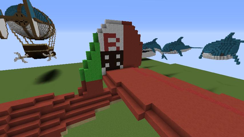 Minecrafterししゃもがマインクラフトでぷっこ村にジブリ作品の紅の豚に出る飛行機サボイアS.21試作戦闘飛行艇を作る5