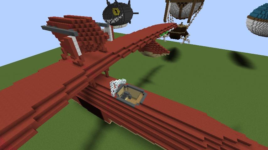 Minecrafterししゃもがマインクラフトでぷっこ村にジブリ作品の紅の豚に出る飛行機サボイアS.21試作戦闘飛行艇を作る7