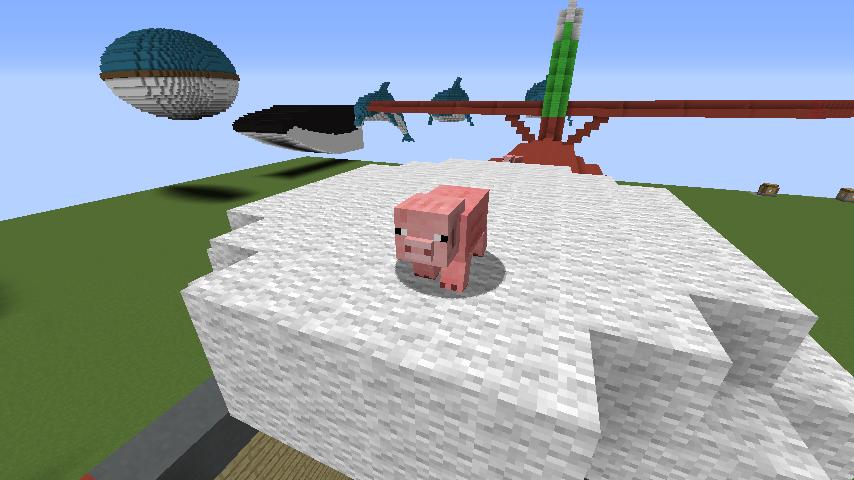 Minecrafterししゃもがマインクラフトでぷっこ村にジブリ作品の紅の豚に出る飛行機サボイアS.21試作戦闘飛行艇を作る8