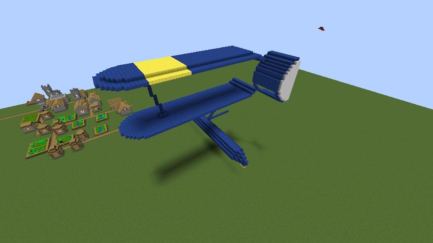 Minecrafterししゃもがマインクラフトでぷっこ村にジブリ作品の紅の豚に出る飛行機カーチスR3C-0 非公然水上戦闘機を作る2