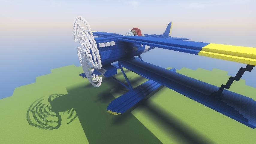 Minecrafterししゃもがマインクラフトでぷっこ村にジブリ作品の紅の豚に出る飛行機カーチスR3C-0 非公然水上戦闘機を作る6