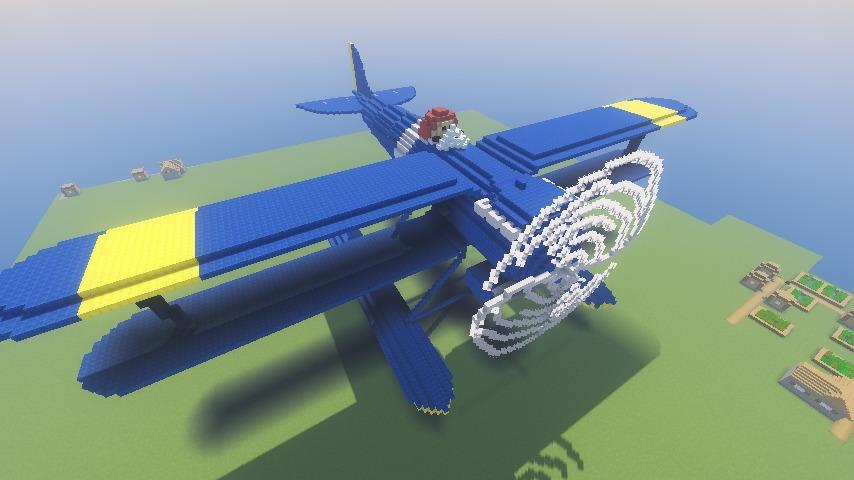 Minecrafterししゃもがマインクラフトでぷっこ村にジブリ作品の紅の豚に出る飛行機カーチスR3C-0 非公然水上戦闘機を作る10