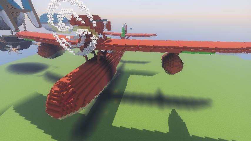Minecrafterししゃもがマインクラフトでぷっこ村にジブリ作品の紅の豚に出る飛行機サボイアS.21試作戦闘飛行艇を作る10