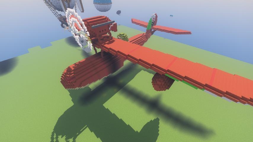 Minecrafterししゃもがマインクラフトでぷっこ村にジブリ作品の紅の豚に出る飛行機カーチスR3C-0 非公然水上戦闘機を作る9