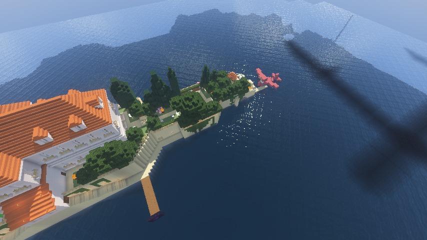 Minecrafterししゃもがマインクラフトでぷっこ村に紅の豚の決闘シーンを再現する10
