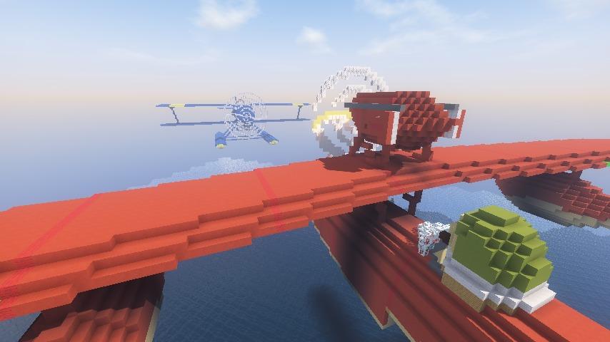 Minecrafterししゃもがマインクラフトでぷっこ村に紅の豚の決闘シーンを再現する2